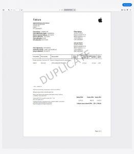 Faktura Apple - duplikát pro ČR